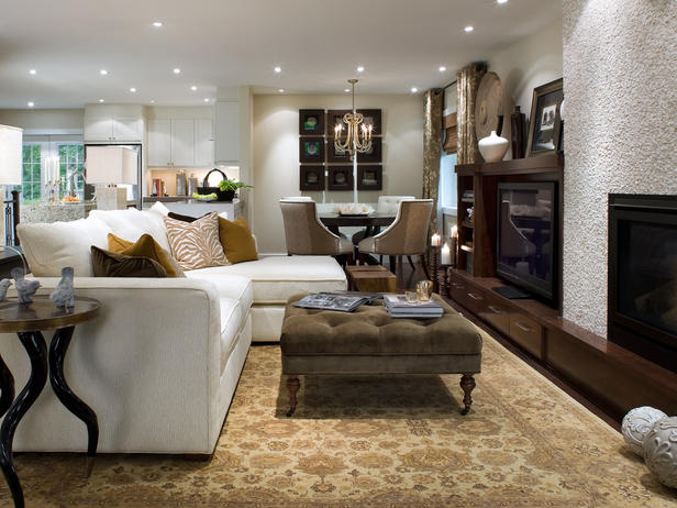 designer candice olson mixes comfy furnishings with elegant textiles and color schemes to create family rooms that define the meaning of lived in luxury - Living Room Design Ideas 2012