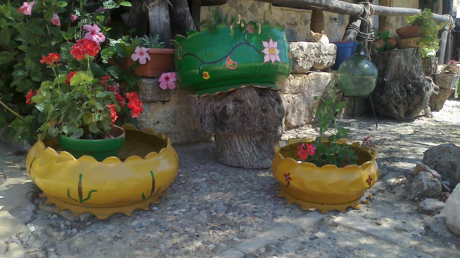 maceteros y decoraci n de jardines con neum ticos se