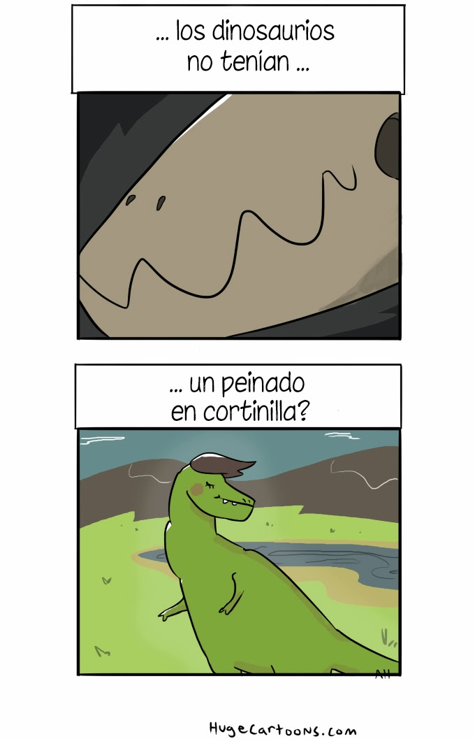 humor absurdo - dinosaurios con pelo
