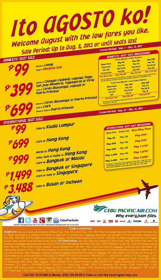 Seat Sale: Cebu Pacific Air Introduces August 2013 Promo Fares To