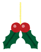 クリスマスの飾りのイラスト(ヒイラギ)