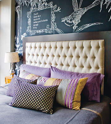 purple eclectic bedroom with chalkboard wall