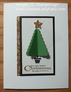Card with a 3D element, a Christmas tree made with Stampin'UP!'s Pennant Punch