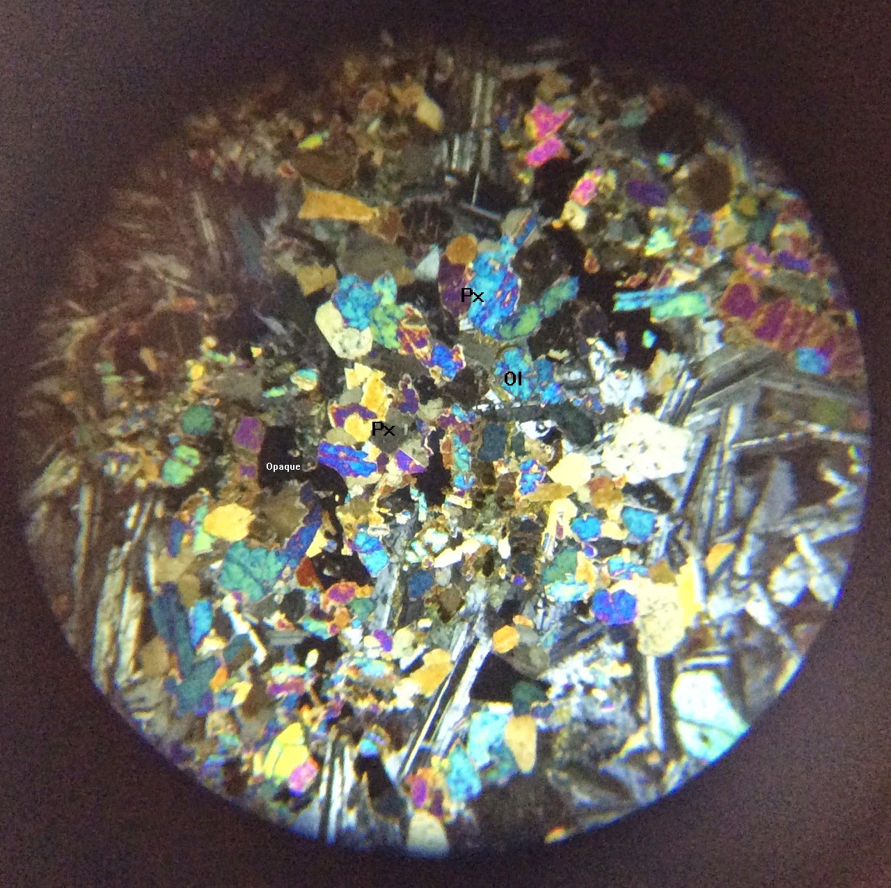 Pyroxene in thin section XPL