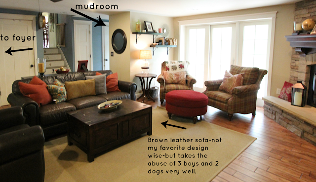 family room with brown leather sofas and corner stone fireplace - www.goldenboysandme.com