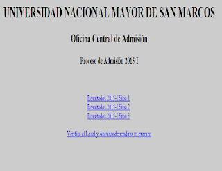 Resultados ingresantes Universidad San Marcos 2015 I última Fecha 21 de Setiembre