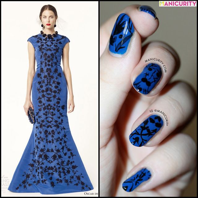 Manicurity | That Gorgeous Blue Oscar de la Renta Resort 2014 Gown (on mah nails)