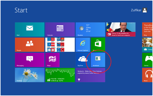 How to shutdown a Windows 8 Computer by a single click?