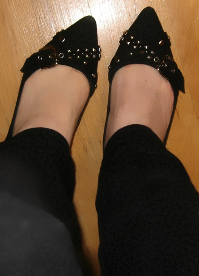 thrifted black studded flats