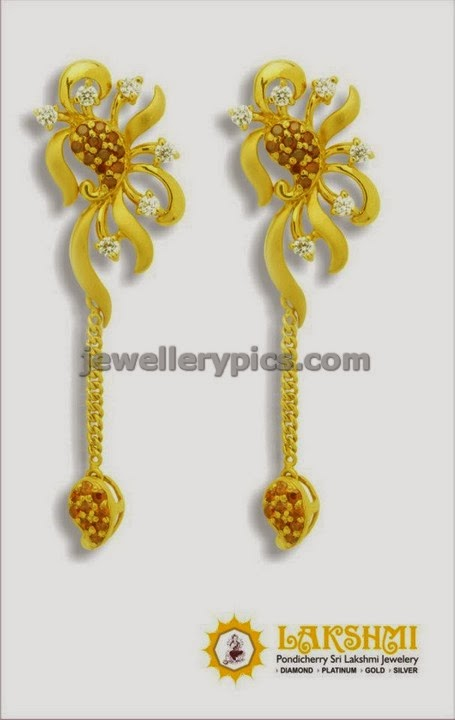 gold hanging earrings gallery latest jewellery designs