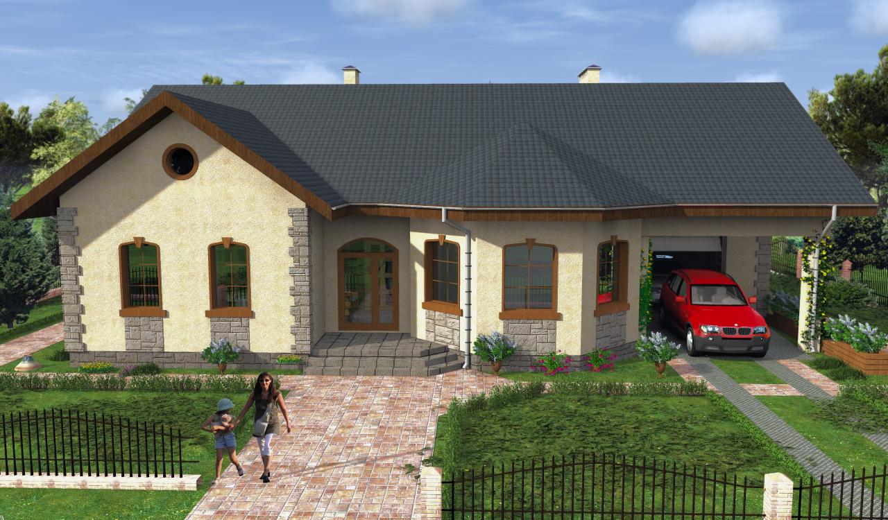 дом одноэтажный с эркером фото