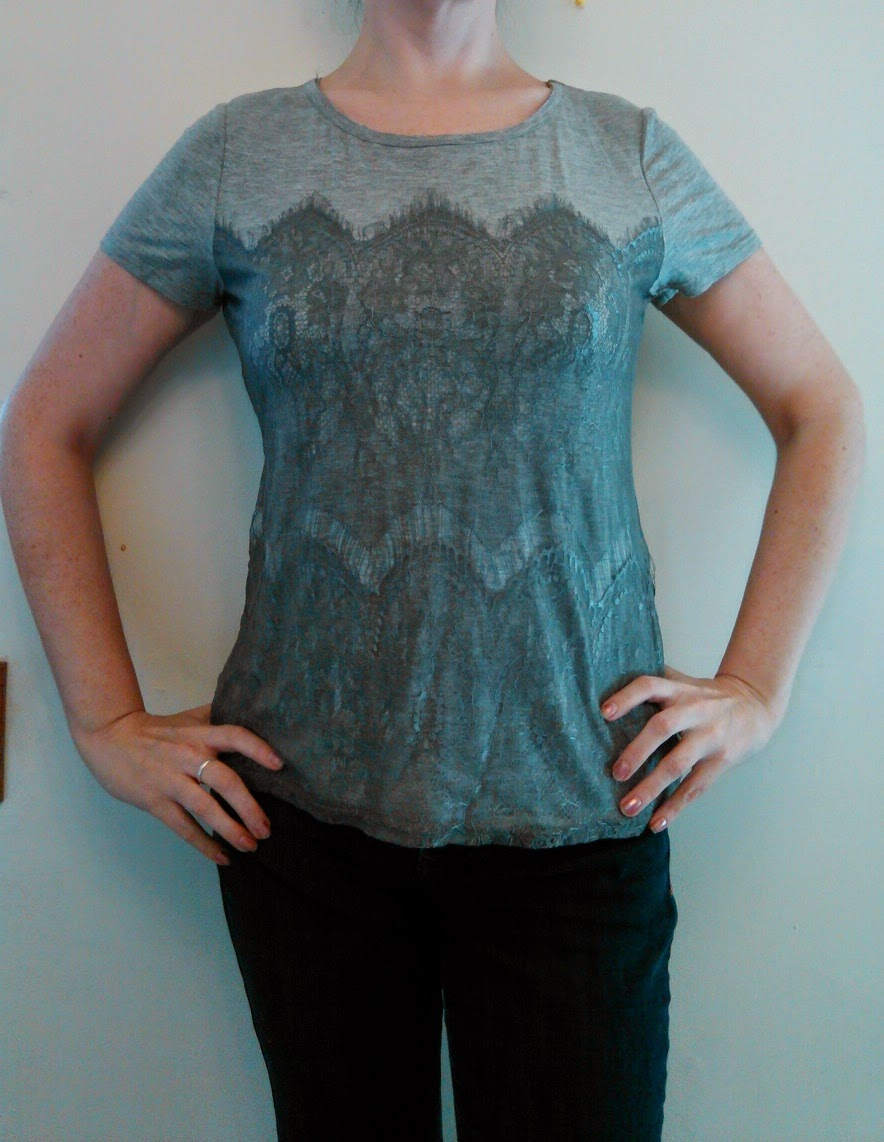 Stitch Fix Market and Spruce Memphis Lace Overlay Knit Shirt in Grey