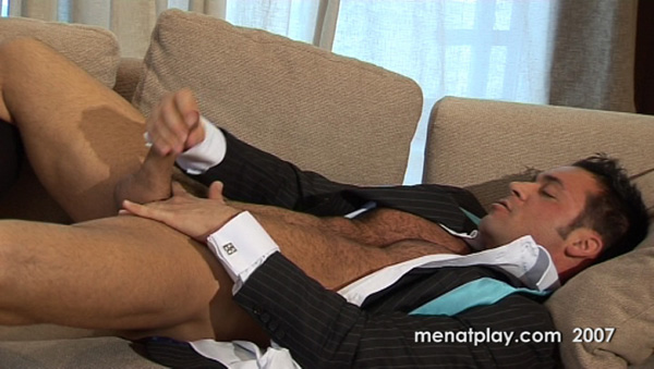 Hot muscle hairy hunk Jed Wilcock jerking off 01