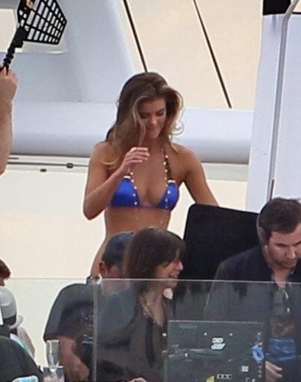 English:Nina Agdal Blue Bikini Miami January 17, 2014