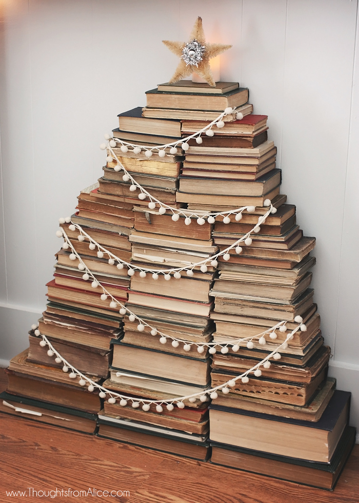 Vintage book stack christmas tree jennifer rizzo for Christmas tree made from old books