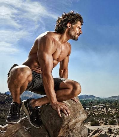 "Shirtless and ripped Joe Manganiello giving you his best ""werewolf"" pose"