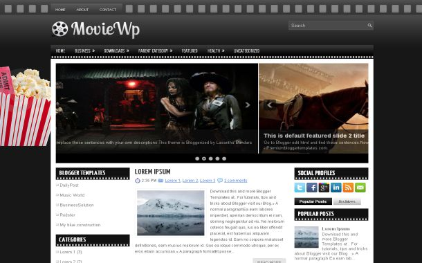 Dark Black Movies Free Blogger Theme Template