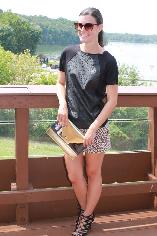 leopard print shorts, faux leather tee