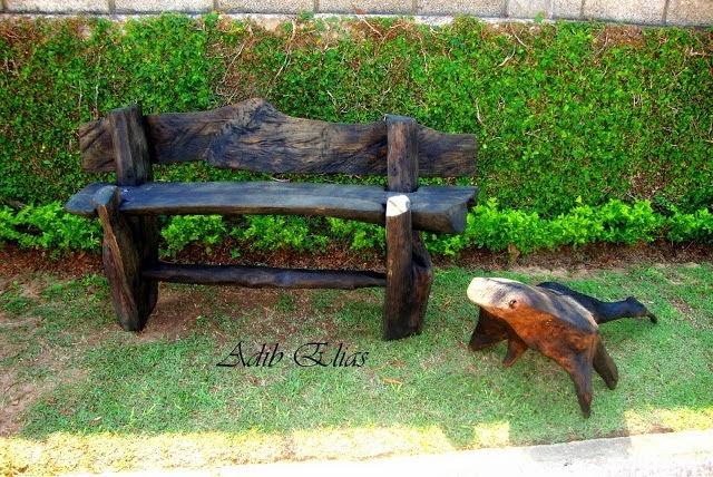 banco de jardim rustico:Troncos e raizes: Bancos rústicos Eco Design