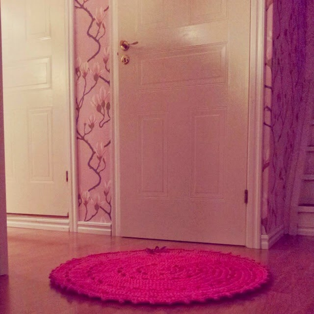 Crocheted pink rug