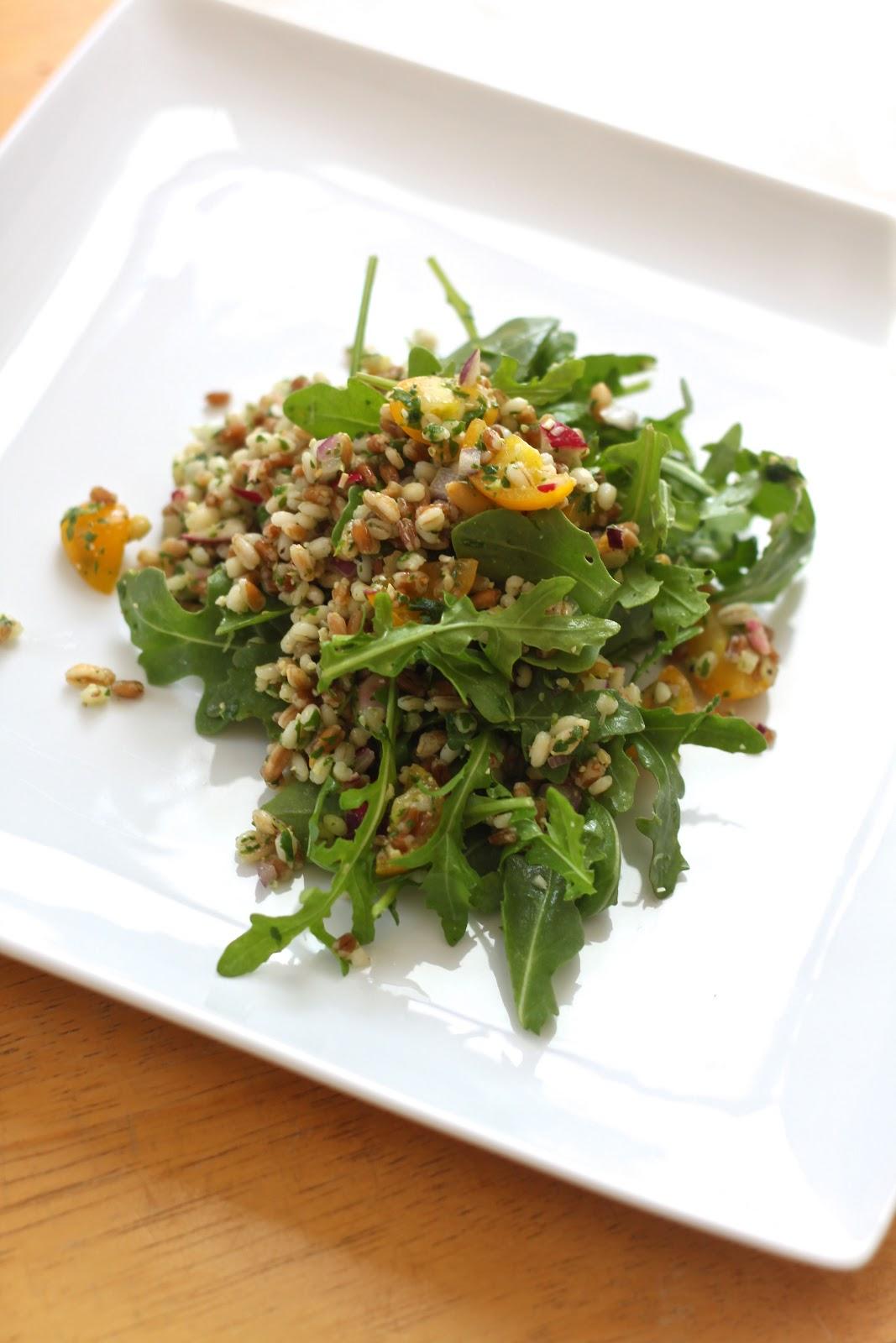 ... wheat berry salad with pistachio arugula pesto with arugula pesto