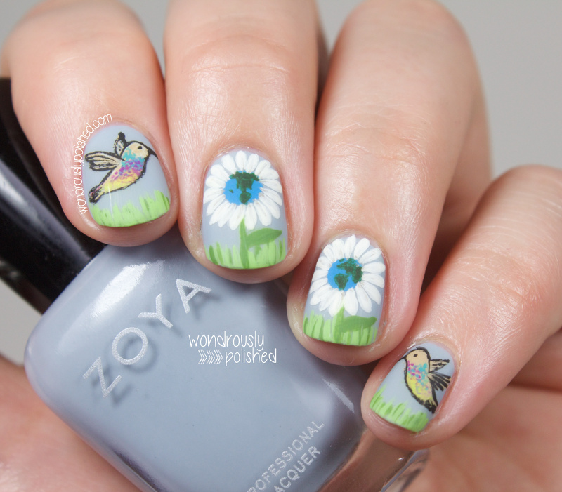 Wondrously Polished Happy Earth Day Nail Art