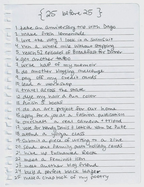 have you ever done a bucket list for your birthday