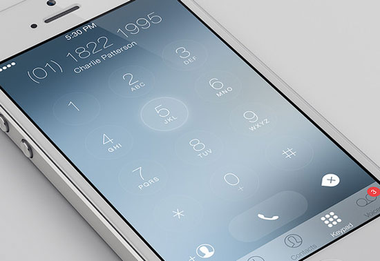 iOS 7 Keypad Redesign by Charles Patterson