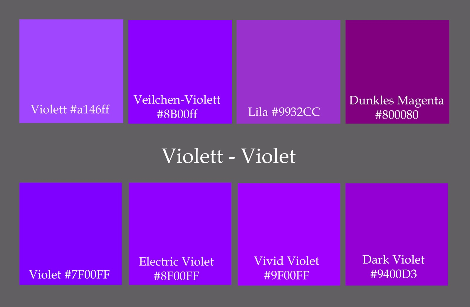 Names Of Different Shades Of Purple The