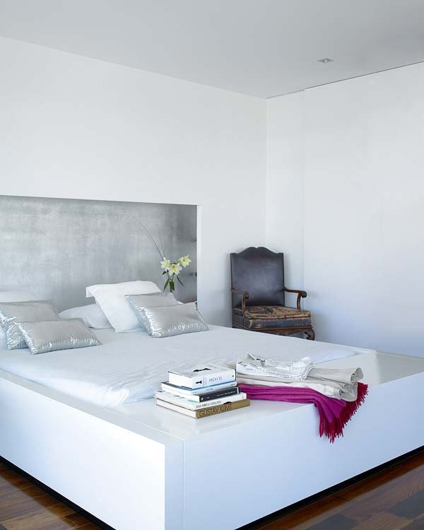bedroom, lacquer, silver leaf, headboard