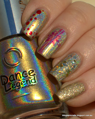 Dance Legend New Messiah, OPI You Only Live Twice and Candeo Colors Old City and OPI Honey Ryder