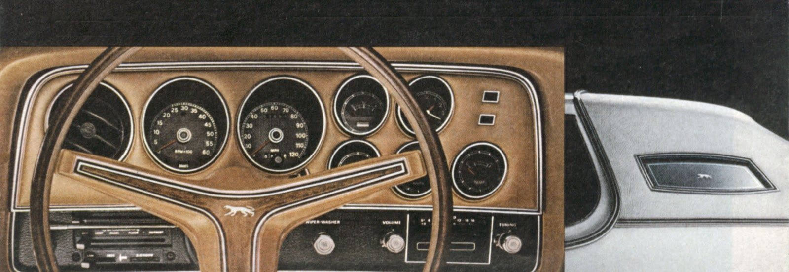 1973 1974 Mercury Cougar What A Difference Year Makes 1975 Monte Carlo Wiring Diagram Wood Grain Dash Gave Way To Leather While The Body Got Opera Windows And Hood Ornament