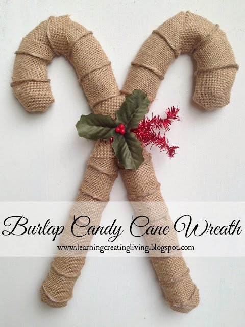 http://learningcreatingliving.blogspot.com/2013/11/burlap-candy-cane-wreath.html