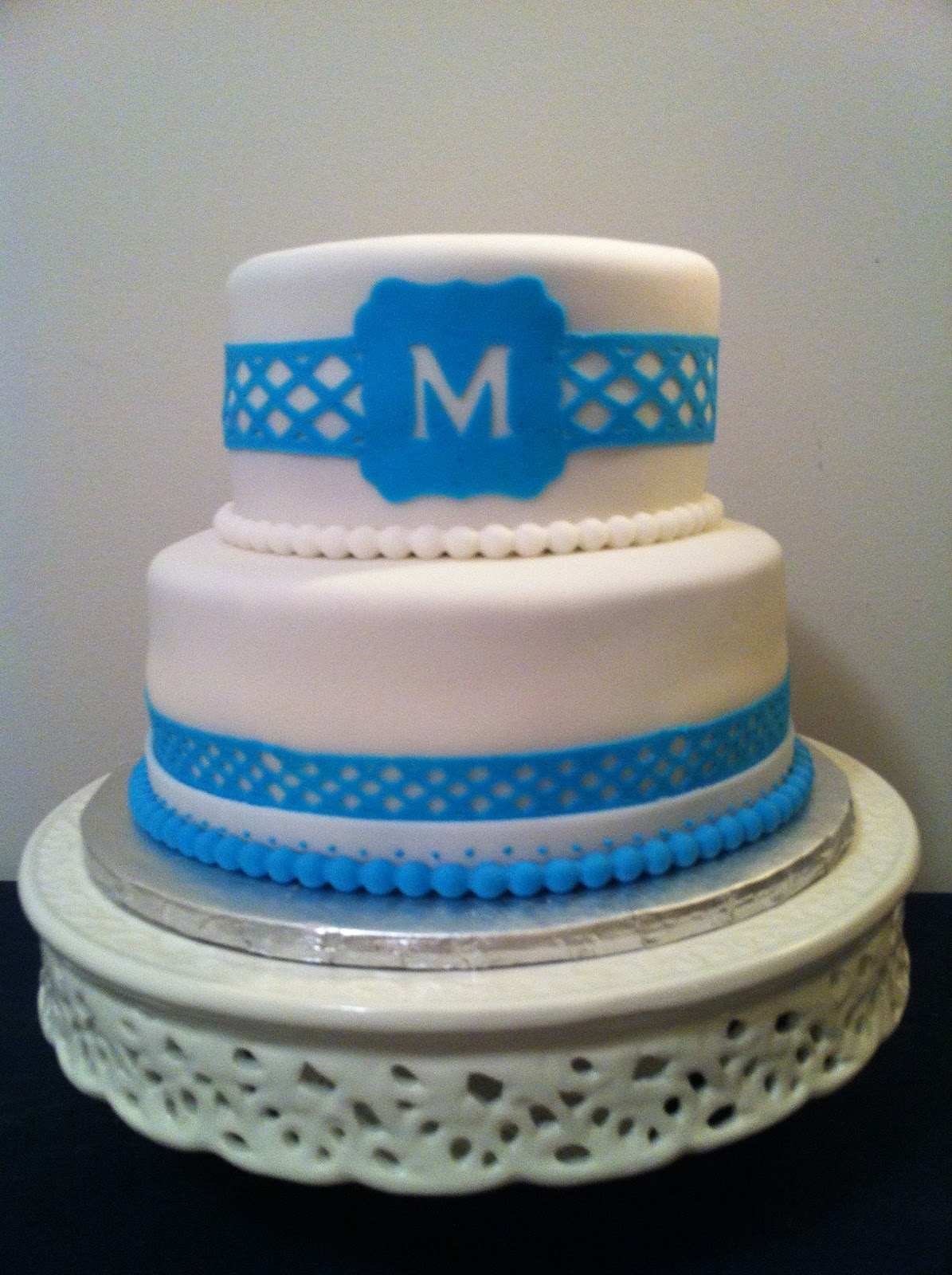 Delicious Delights Nj Blue And White Monogram Birthday Cake