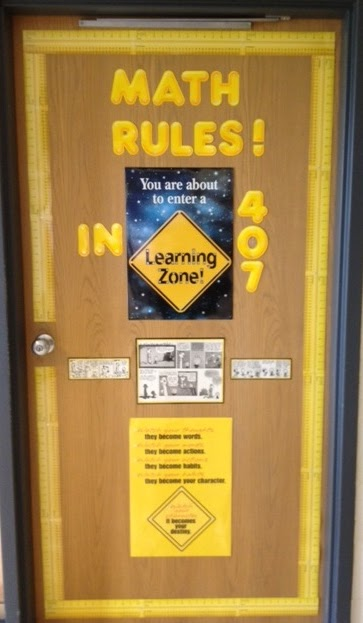 Math Classroom Door Decoration Ideas ~ Middle school math rules classroom door made monday