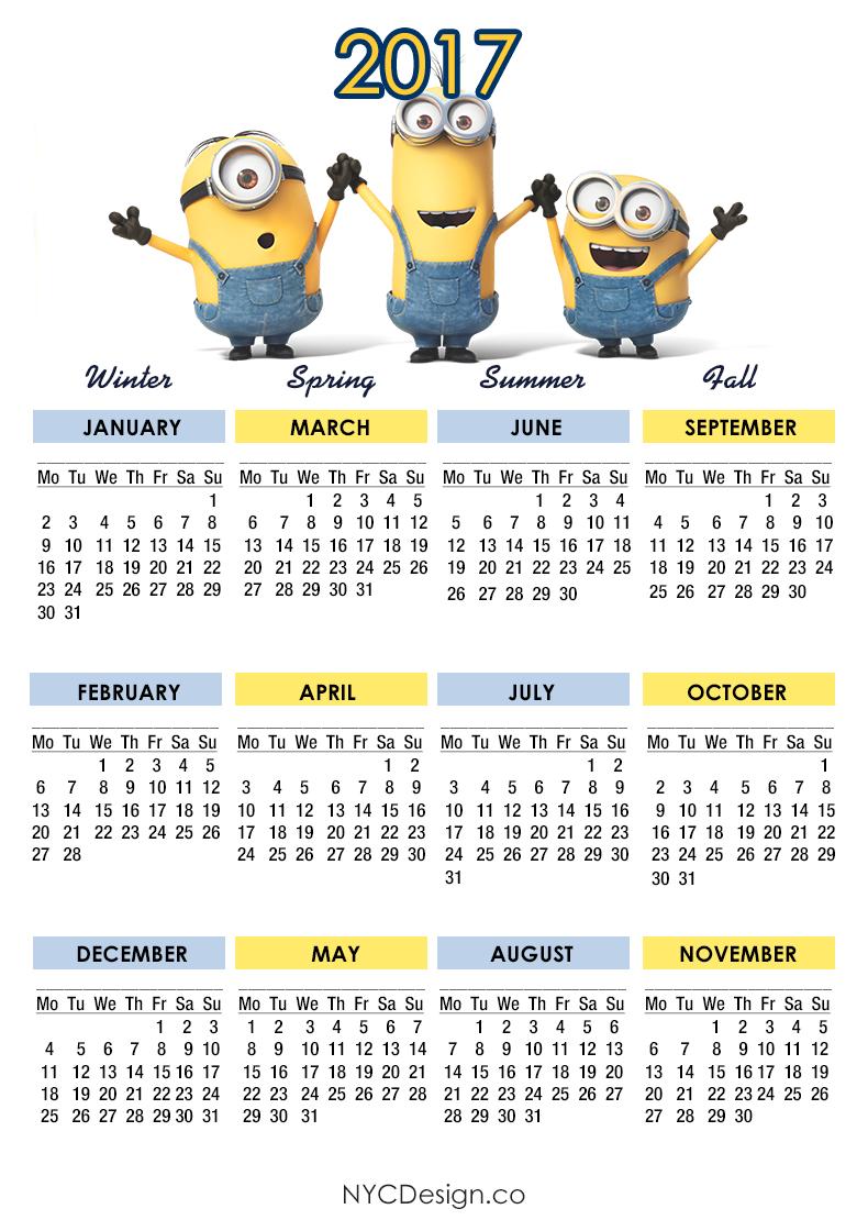 Minions Calendar 2017 Calendar