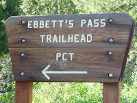 Sign for Ebbett's Pass Trailhead along California State Highway 4