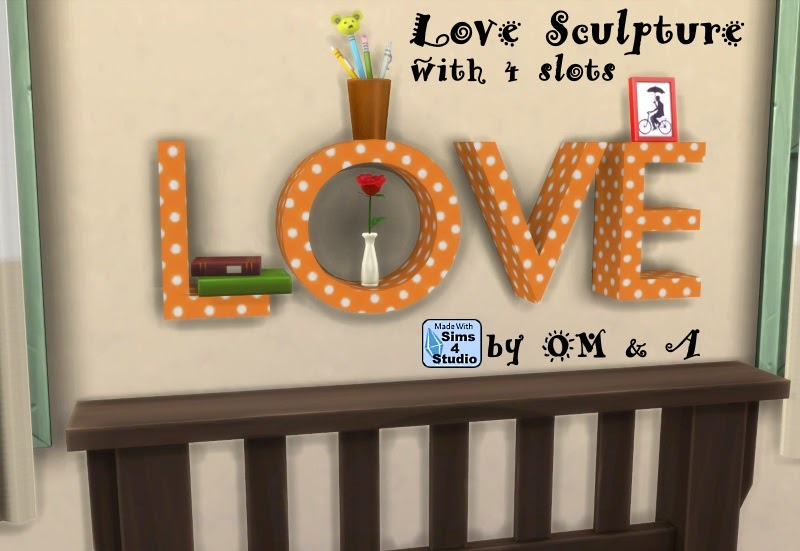 My Sims 4 Blog Love Wall Sculpture With 4 Slots By OM