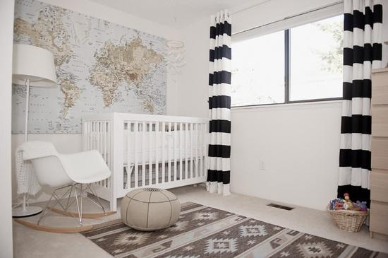 Behang Kinderkamer Grijs : Wereldkaart kinderkamer. interesting oktoberdots voor de babykamer