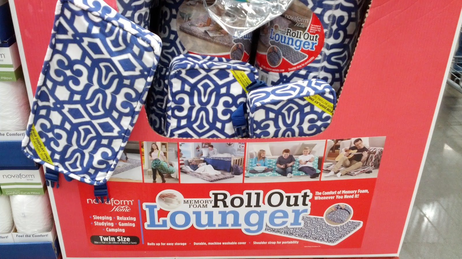 Camping bed costco - Novaform Home Roll Out Memory Foam Lounger Costco Desk Chair Floor Mat Costco Lamb Plush
