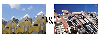 Contemporary design vs. classical design in architecture, collage