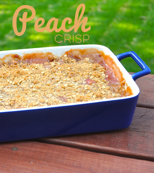 Easy peach crisp recipe using fresh or frozen peaches with a crumbly cinnamon and oat topping.