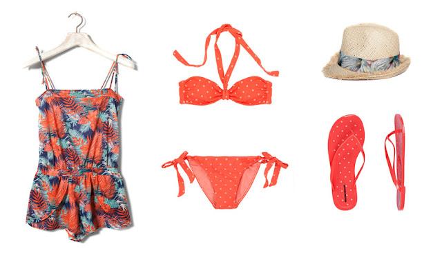 Kit playa o piscina (mono estampado, bañador, chanclas y sombrero)