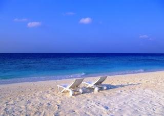 Tatil sahil ve şezlong