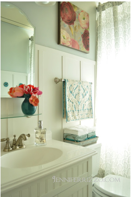 white and aqua bathroom
