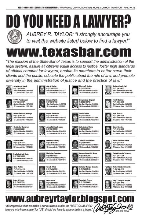 PAGE 35 - HOUSTON BUSINESS CONNECTIONS NEWSPAPER© RUNOFF ELECTION - PART 1 OF 3