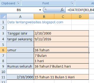 Cara mudah Menghitung umur di Excel