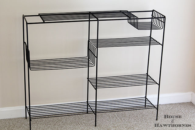Mid century modern wire shelf unit along with other vintage yard sale finds at houseofhawthornes.com