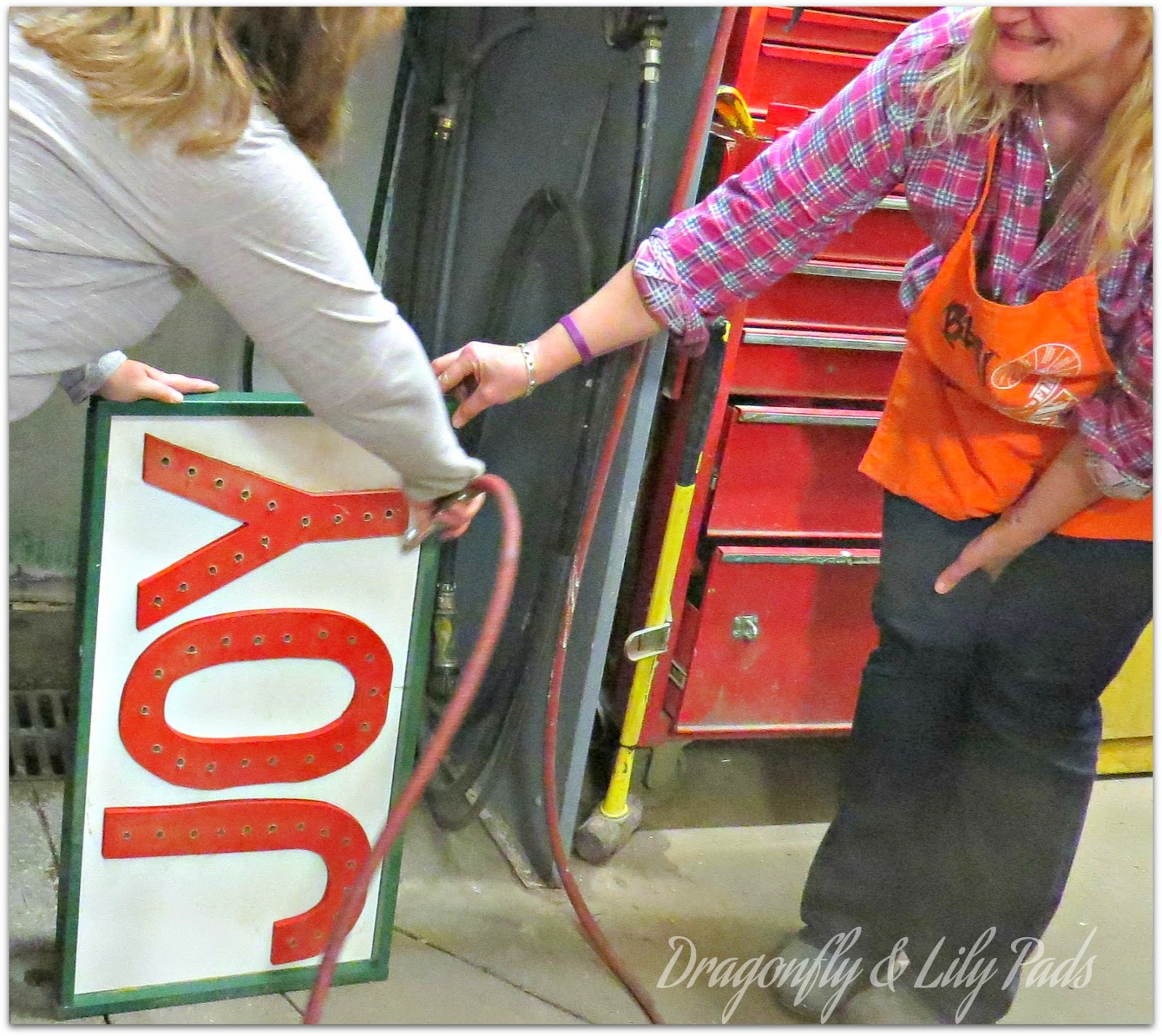Cleaning up the Sawdust, Home Depot Her It Yourself Workshop, Joy Marquee Sign