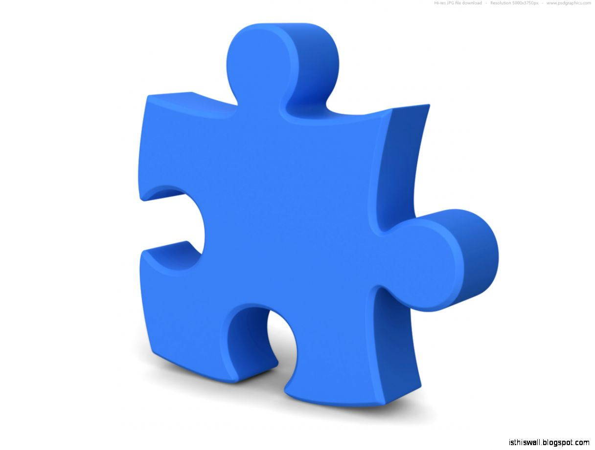 Single jigsaw puzzle piece 3D symbol  PSDGraphics
